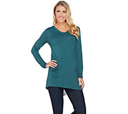 LOGO by Lori Goldstein Knit Top with Color-Block Back Detail - A276817