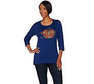 Quacker Factory Falling Leaves High-Low 3/4 Sleeve Top - A280817