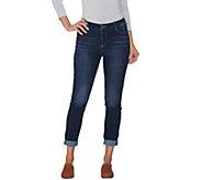 LOGO by Lori Goldstein Distressed 5-Pocket Jeans - A281117