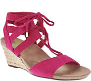 Vionic Orthotic Suede Lace-up Wedges - Tansy - A287717