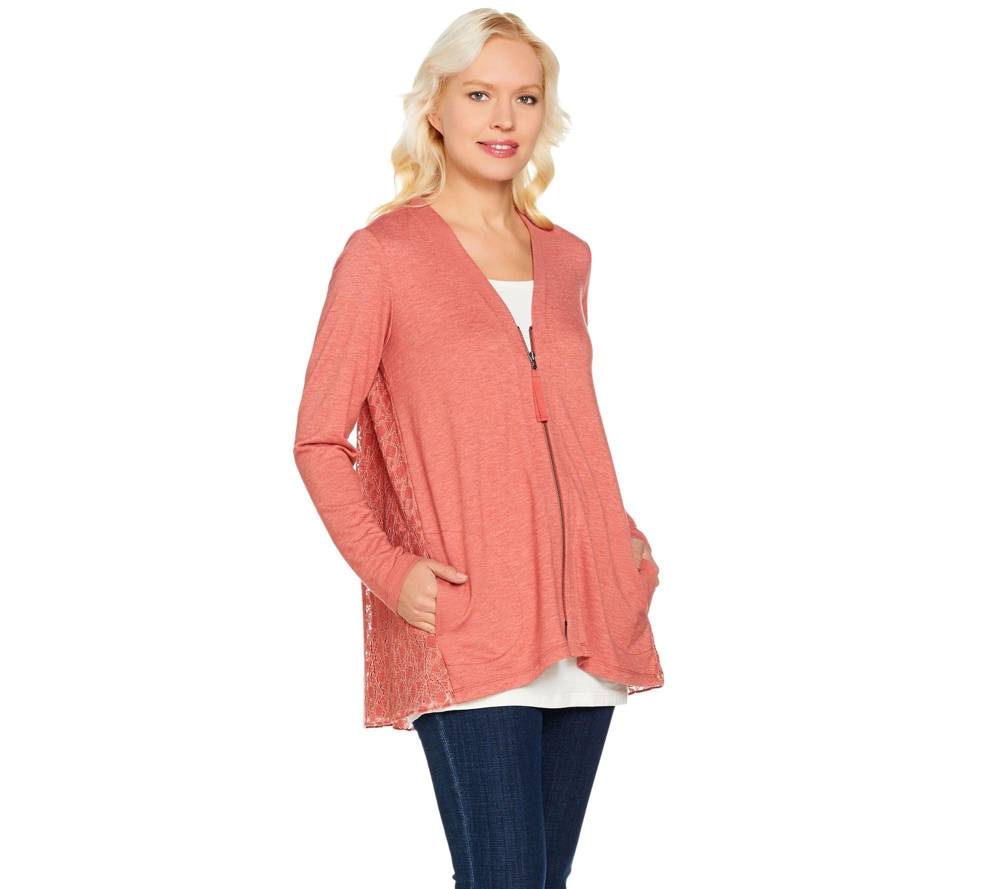 e0e27322c8d6f LOGO Lounge by Lori Goldstein Zip Front Cardigan with Lace Back - Page 1 —  QVC.com