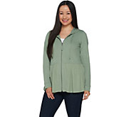 LOGO Lounge by Lori Goldstein French Terry Jacket with Woven Hem - A290217