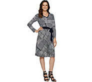 Susan Graver Printed Liquid Knit Dress with Belt - A292317