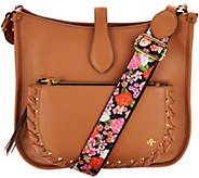 As Is orYANY Pebble Leather Messenger Bag - Anita - A301817
