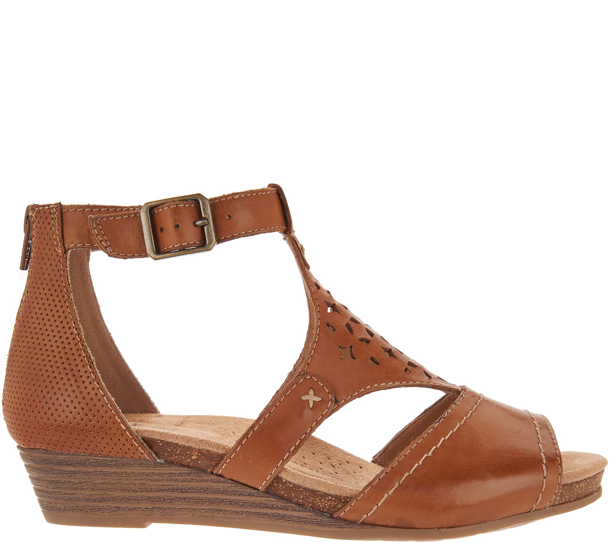 95d17246c027 Earth Origins Leather Cut-out Wedges - Hermia - Page 1 — QVC.com