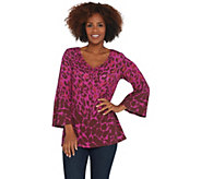 Isaac Mizrahi Live! Leopard Printed Tunic with Sleeve Detail - A310017