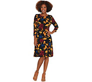 Susan Graver Printed Liquid Knit Dress with Faux Pearl Trim - A310117