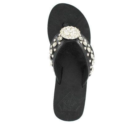 6615aa1ad42363 CJ by Cowgirl Jewels Women s Jeweled Thong Sandals — QVC.com
