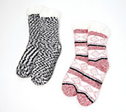 Cuddl Duds Sherpa Lined Cabin Sock Set of 2 - A344017