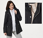 Dennis Basso Water Resistant Zip-Front Jacket with Removable Hood - A349317