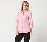 Denim & Co. Stripe Stretch Poplin 3/4-Sleeve Shirt - A350017