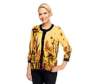 Bob Mackies Sweater Knit Floral Placed Print Cardigan with Solid Trim - A252318