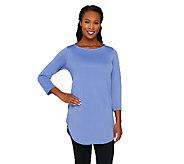 Susan Graver Premier Knit 3/4 Sleeve Shirttail Hem Tunic - A263818