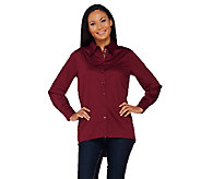 Susan Graver Stretch Cotton Button Front Shirt with Printed Placket - A269218