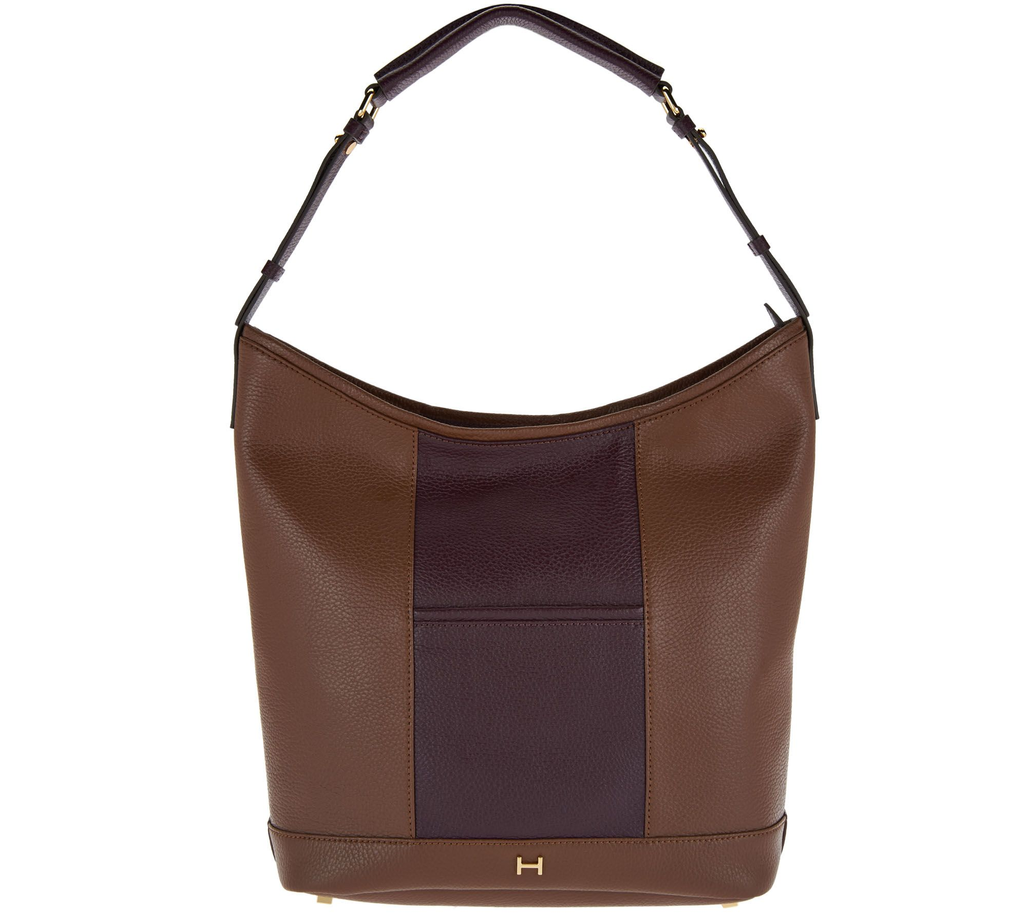 e52da35496 H by Halston Pebble Leather Color-Block Hobo Handbag - Page 1 — QVC.com