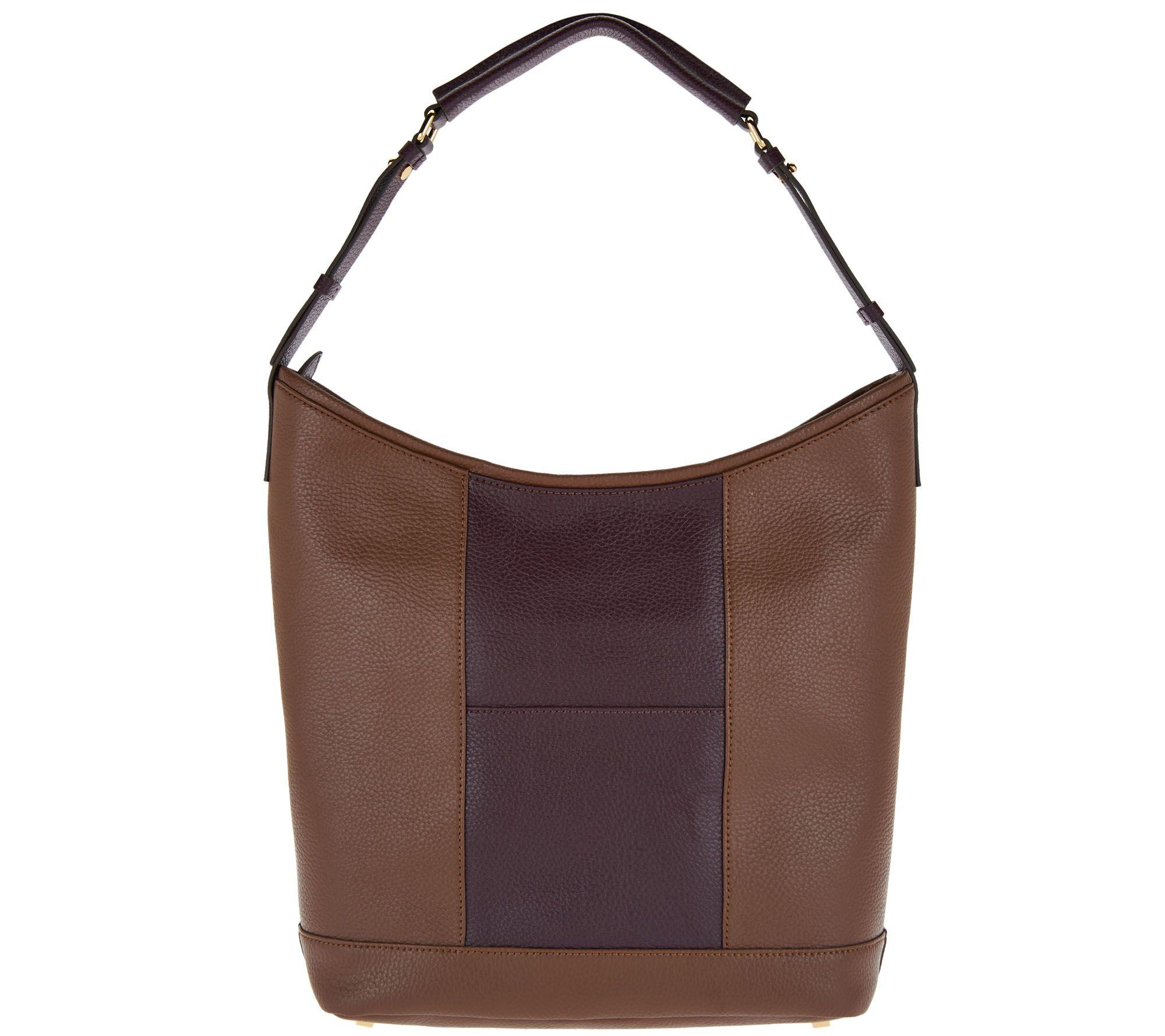 e52da35496 H by Halston Pebble Leather Color-Block Hobo Handbag - Page 1 — QVC.com