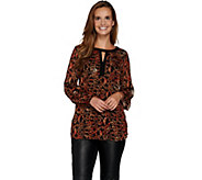 Susan Graver Printed Woven Tunic w/ Liquid Knit Back - A282918