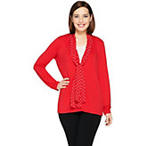 Susan Graver Premier Knit Cardigan with Printed Chiffon Trim - A286718
