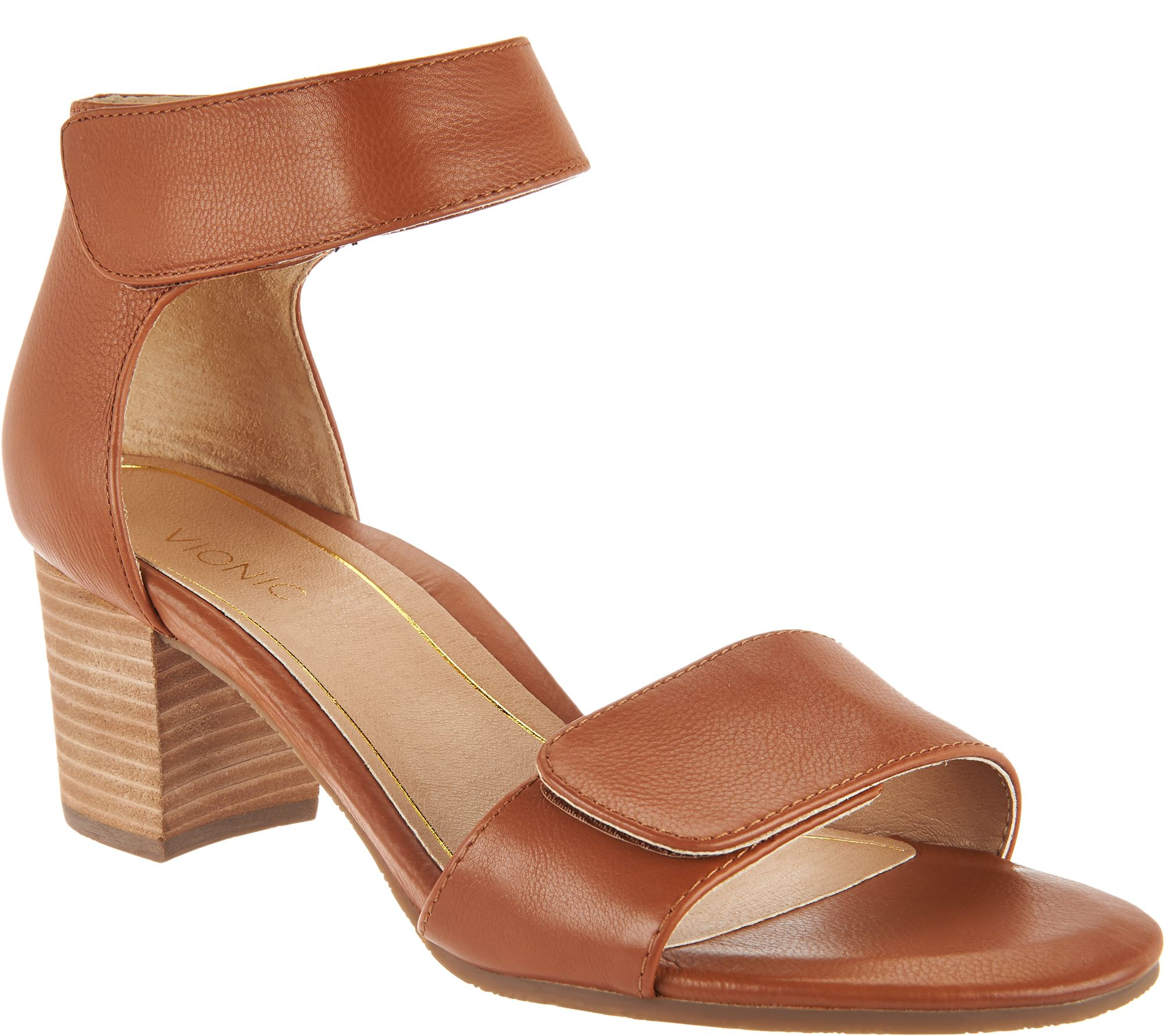 3491e926212f Vionic Block Heel Leather Sandals - Solana - Page 1 — QVC.com