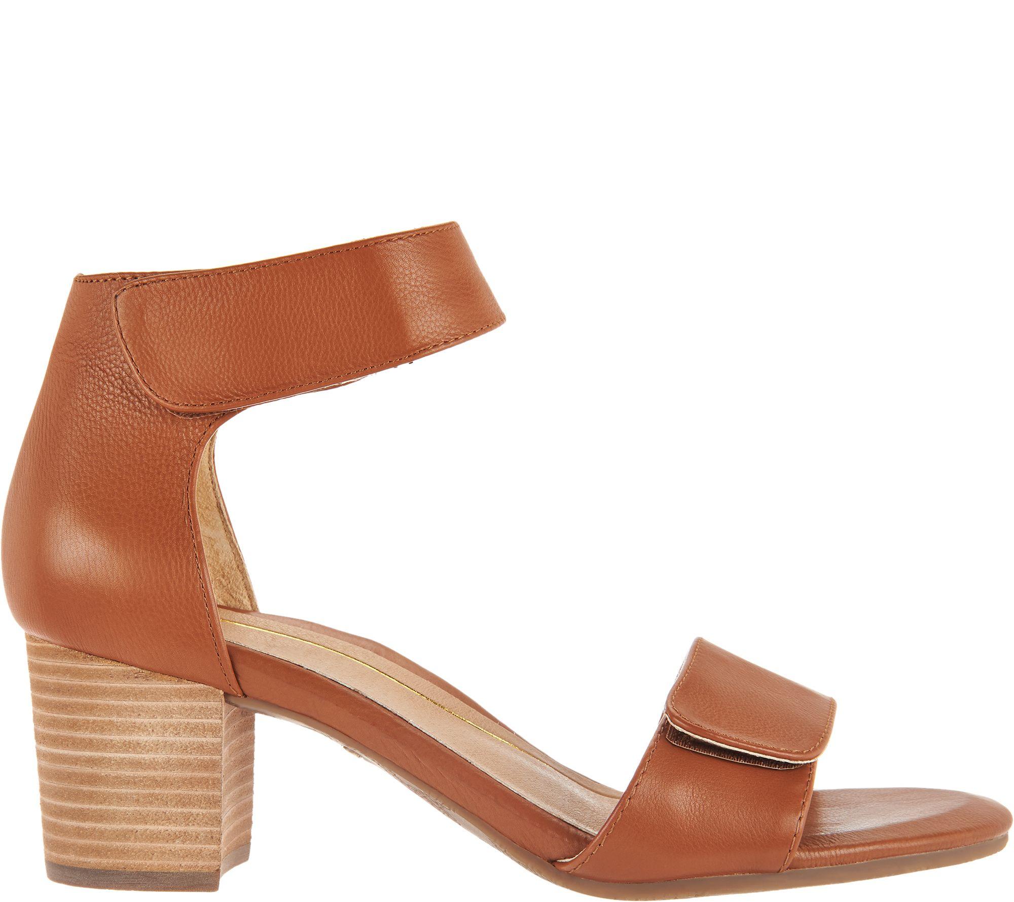 ff7929a88 Vionic Block Heel Leather Sandals - Solana - Page 1 — QVC.com