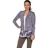 LOGO by Lori Goldstein Mixed Print Cardigan with Pop Pockets - A288018