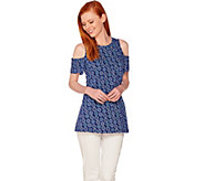 Denim & Co. Short Sleeve Round Neck Cold Shoulder Printed Top - A288718