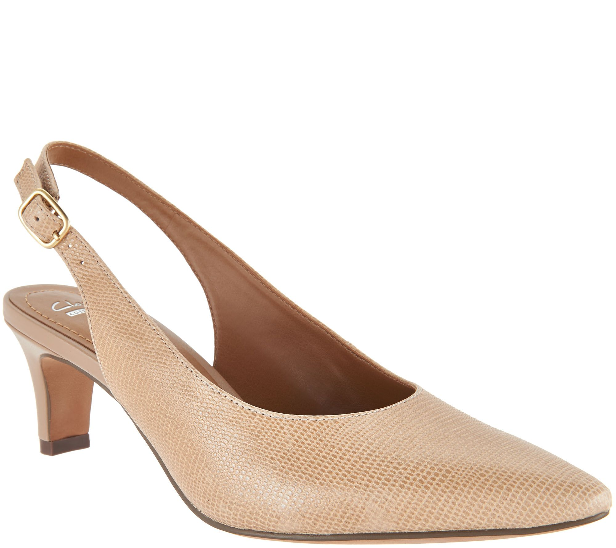 20391d44240 Clarks Leather Kitten Heel Slingback Pumps - Crewso Riley - Page 1 — QVC.com