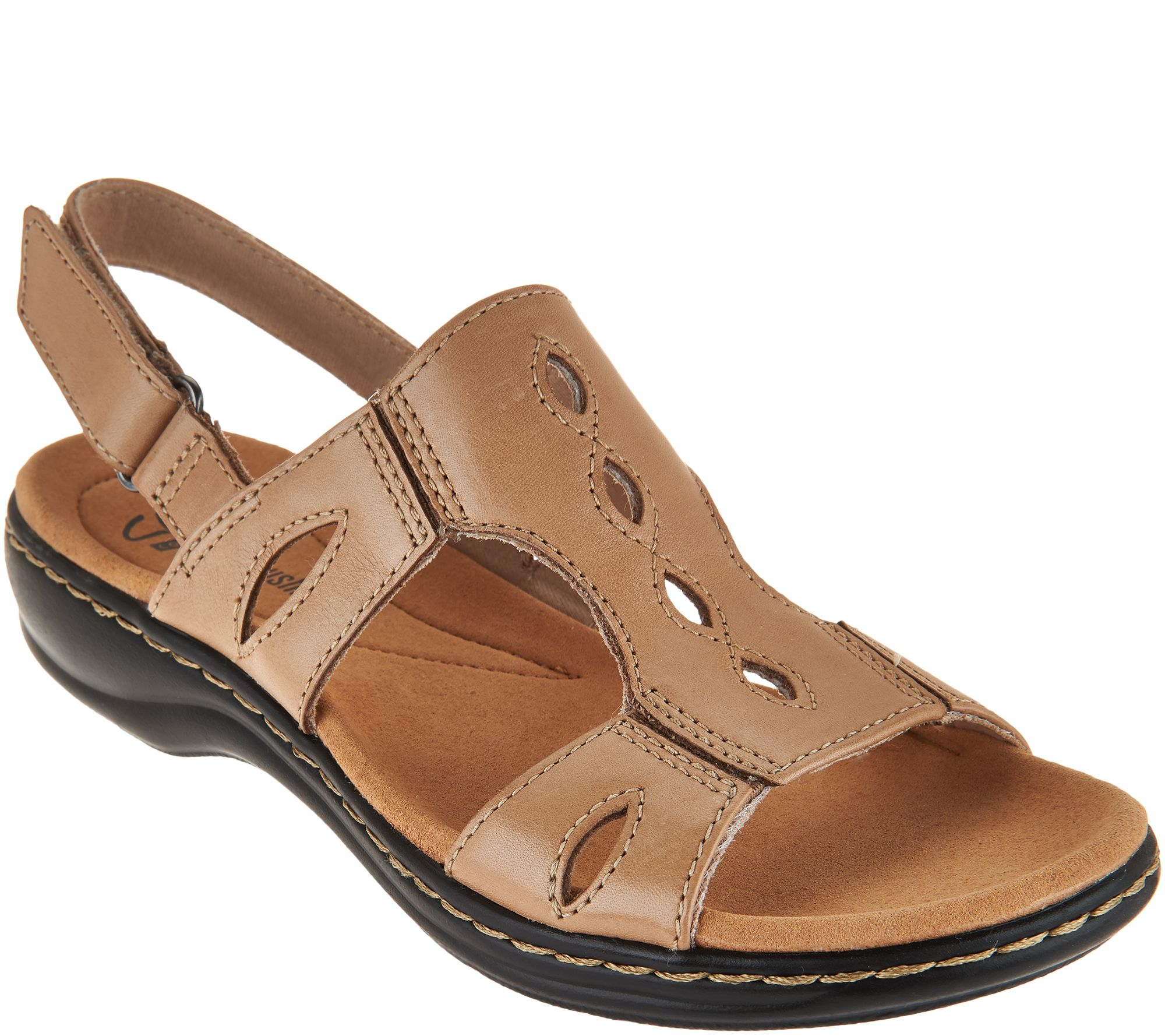 1342036e3407 Clarks Leather Lightweight Sandals - Leisa Lakelyn - Page 1 — QVC.com