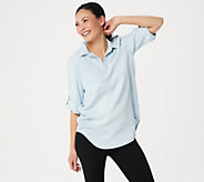 Side Stitch Tencera Pullover Roll-Tab Sleeve Hi-Low Tunic - A299018