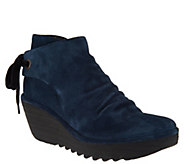FLY London Suede Ruched Ankle Boots with Tie Detail - Yebi - A303718