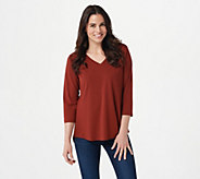 Susan Graver Modern Essentials Cotton Modal 3/4-Sleeve Top - A308218