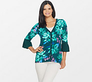 Isaac Mizrahi Live! Floral Printed Pleated Bell Sleeve Cardigan - A311518