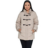Dennis Basso Water Resistant Quilted Toggle Jacket with Hood - A343918