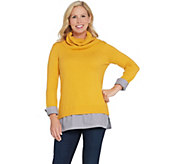 Du Jour Turtleneck Sweater Tunic with Striped Shirttail - A344818