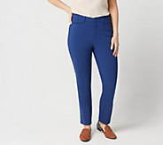 Denim & Co. Regular Double Weave Straight Leg Ankle Pant - A349218