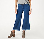 Women with Control Petite My Wonder Denim Frayed Crop Jeans-Indigo - A350918