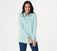 Martha Stewart Luxe Cotton Button Front Knit Blouse - A351518