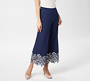 Isaac Mizrahi Live! Regular Pebble Knit Culottes with Lace Trim - A352418