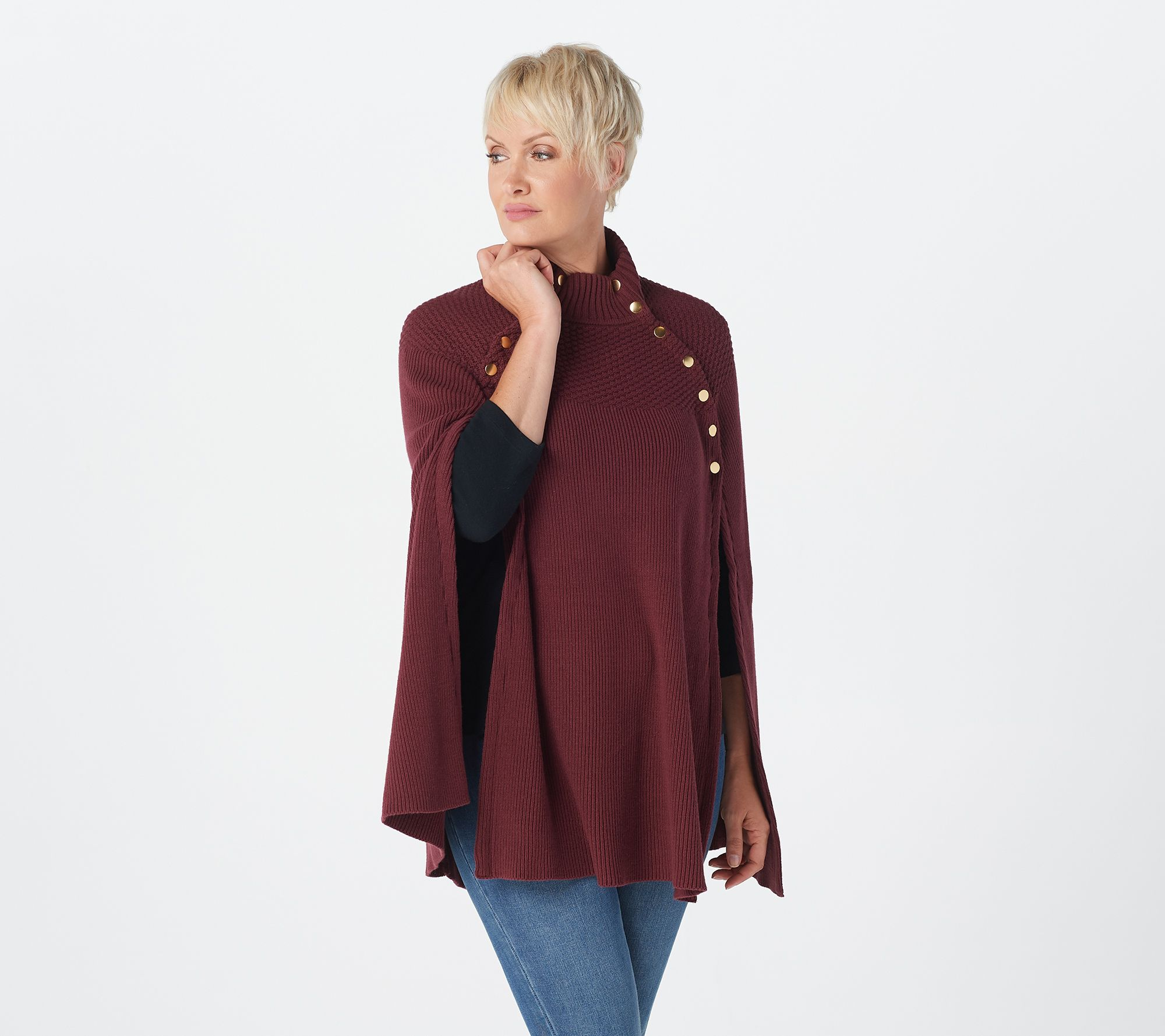 Size Medium. Tan short waist Trendy Sweater w//button closure Pearl designs