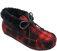 Minnetonka Womens Chrissy Red Plaid Bootie Slippers - A419718
