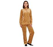 Quacker Factory Regular Velour Jacket & Pants Set w/Rhinestones - A238019
