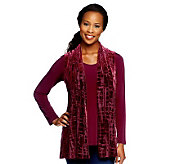Susan Graver Liquid Knit Long Sleeve Top with Burnout Velvet Vest - A238219