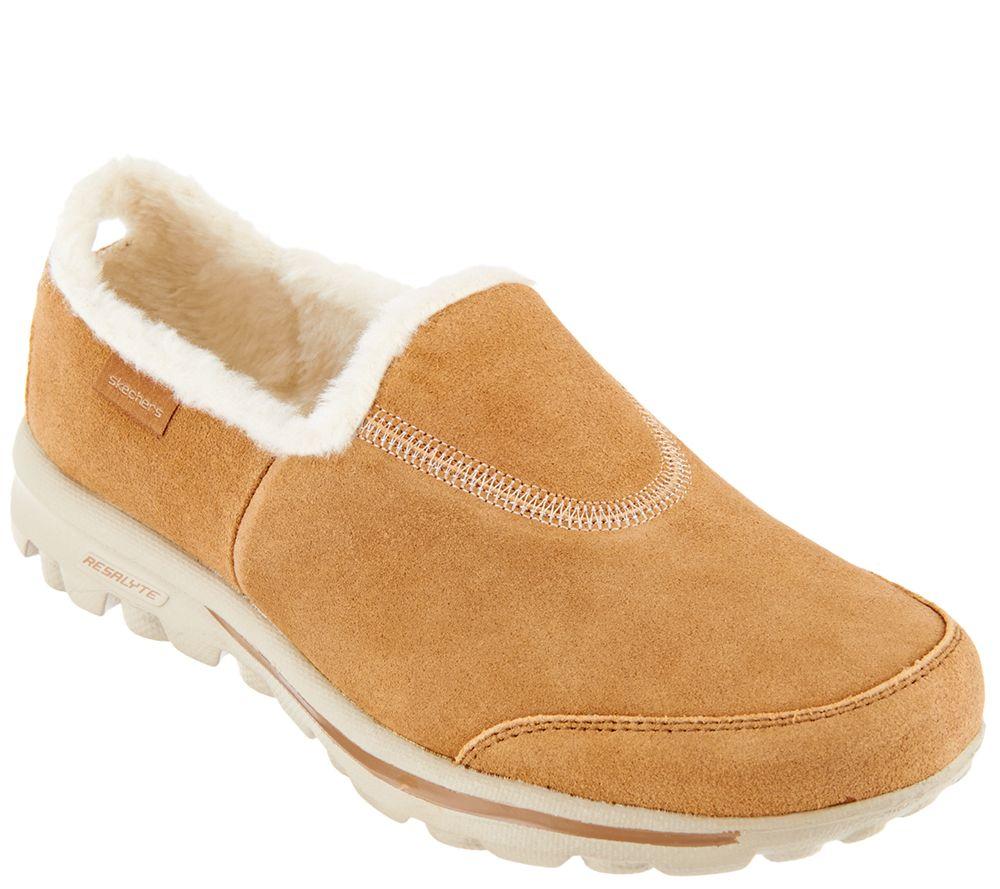 Skechers GOwalk Suede Faux Fur Shoes W/ Memory Form Fit