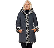 Dennis Basso Faux Fur & Water Resistant Puffer Reversible Coat - A270719