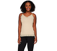 Susan Graver Essentials Stretch Cotton Modal Camisole w/ Lace Detail - A271519