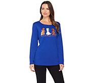 Quacker Factory Holiday Pets Long Sleeve T-shirt - A284419