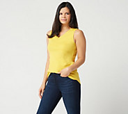 Isaac Mizrahi Live! Essentials Shirttail Hem Tank Top - A286119