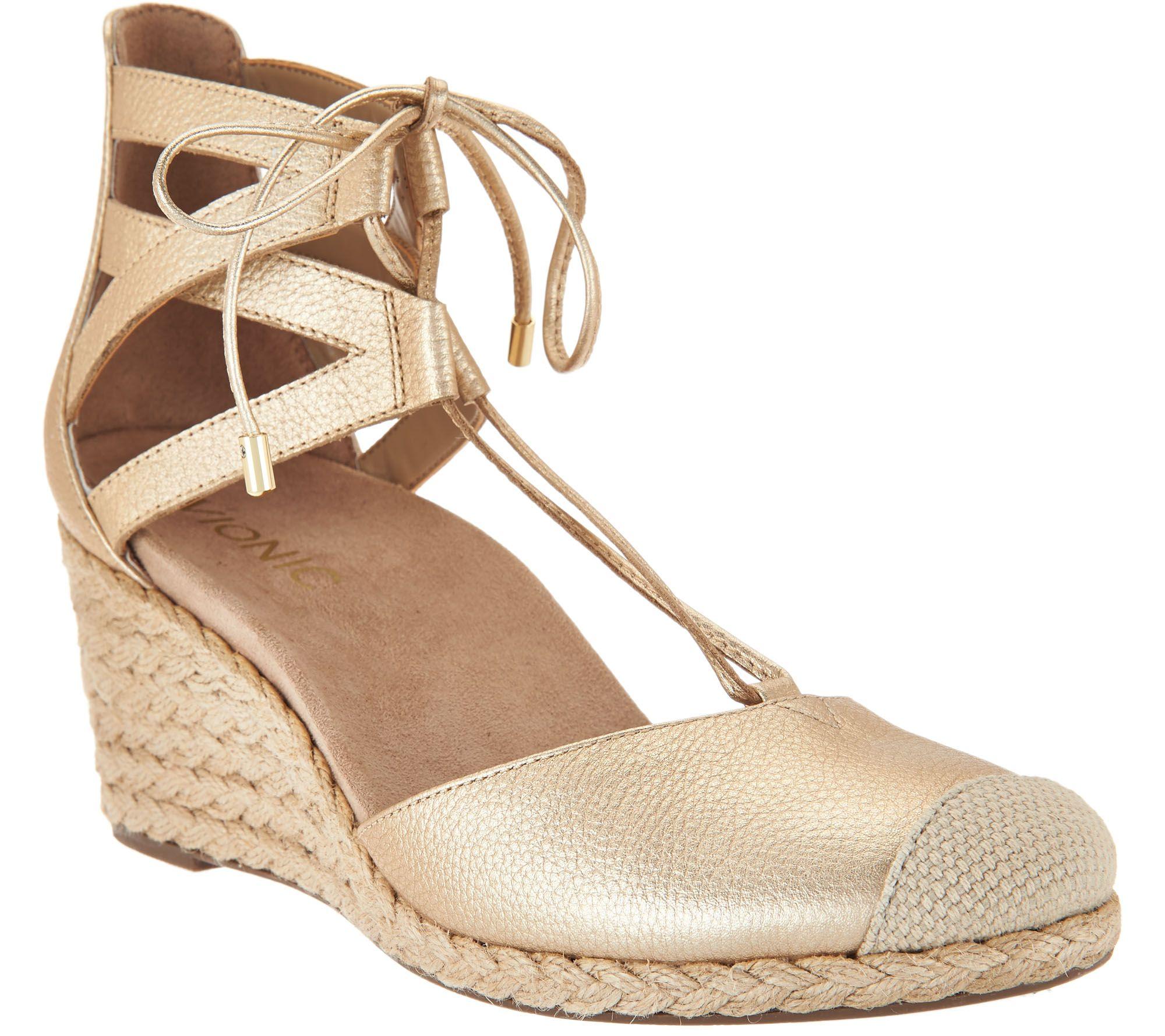 Vionic Maris Ankle Lace Up Wedge Espadrilles p5jA8O1