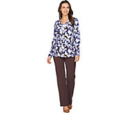 Denim & Co. Active Floral Print Long Sleeve V Neck Top & Pant Set - A287419