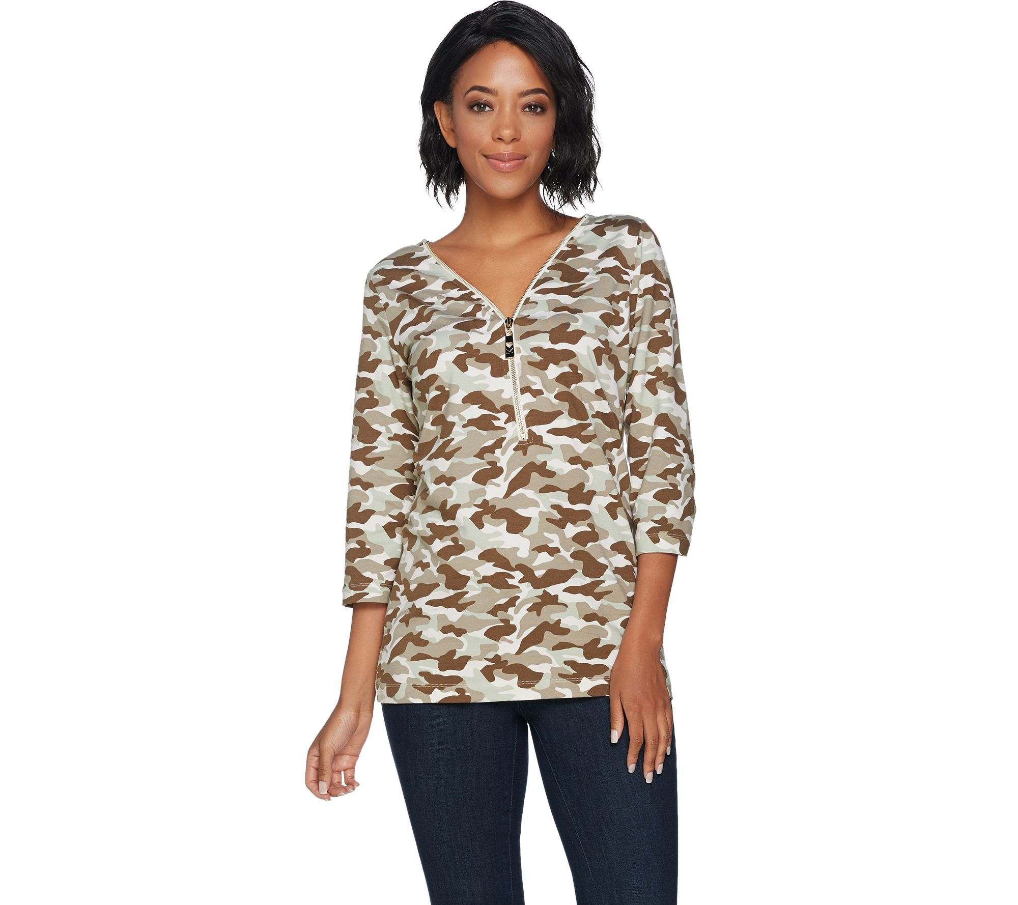 belle by kim gravel tripleluxe camo printed 3  4 sleeve top